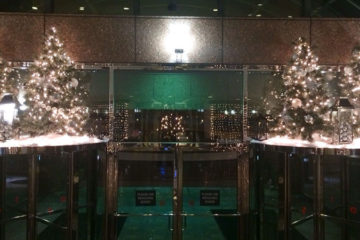 An image of Christmas trees and lanterns placed on top of a corporate building entry vestibule