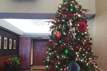 An image of a Christmas tree decorated with ornaments and lights and a wreath
